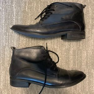 [Seychelles] Black Leather Lace Up Ankle Boots